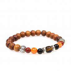 Stardust tiger roots carnelian Black Spinel Tigers Eye Silver Sandal Wood Bracelet Mala front