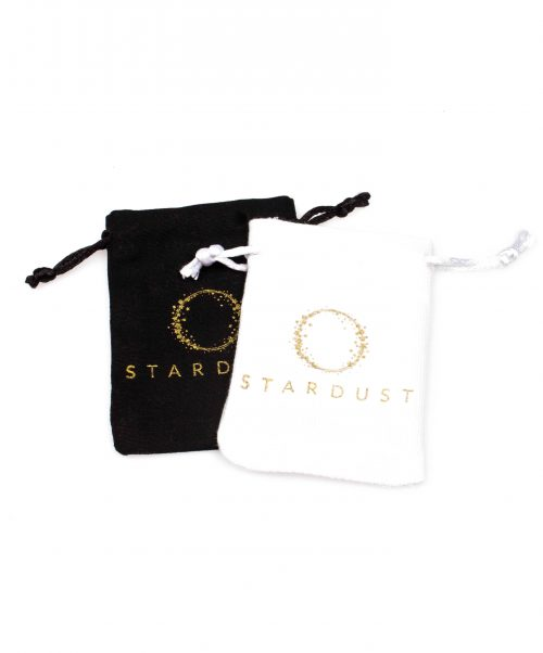 stardust bracelet cotton pouches black white above