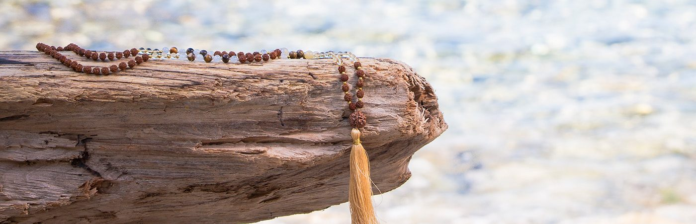 Gold Positivity 108 Bead Mala Drift wood