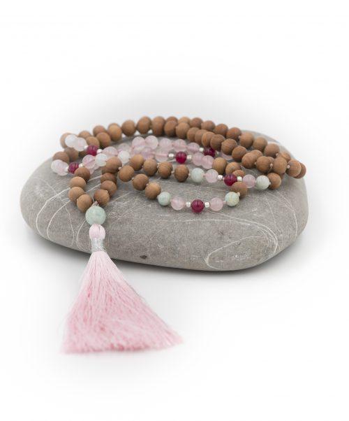 Rose Quartz Heart Chakra 108 Bead Mala Pink