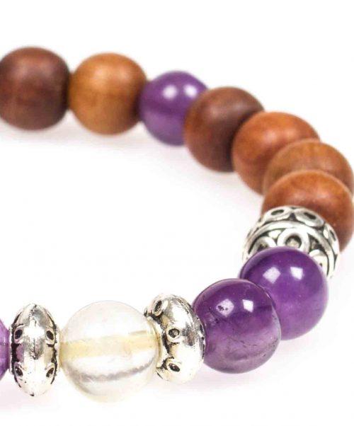 Stardust cleansing calming amethyst citrine sandal wood silver mala bracelet closeup