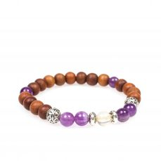 Stardust cleansing calming amethyst citrine sandal wood silver mala bracelet front