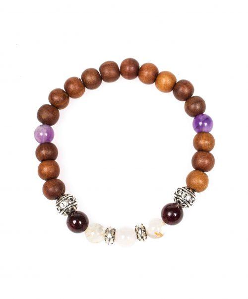 Stardust graceful garnet garnet rose quartz citrine amethyst sandalwood mala bracelet above