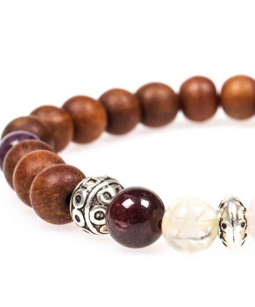 Stardust graceful garnet garnet rose quartz citrine amethyst sandalwood mala bracelet closeup