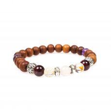 Stardust graceful garnet garnet rose quartz citrine amethyst sandalwood mala bracelet front