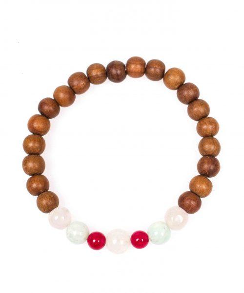 Stardust heart chakra red jade rose quartz amazonite sandalwood mala bracelet above