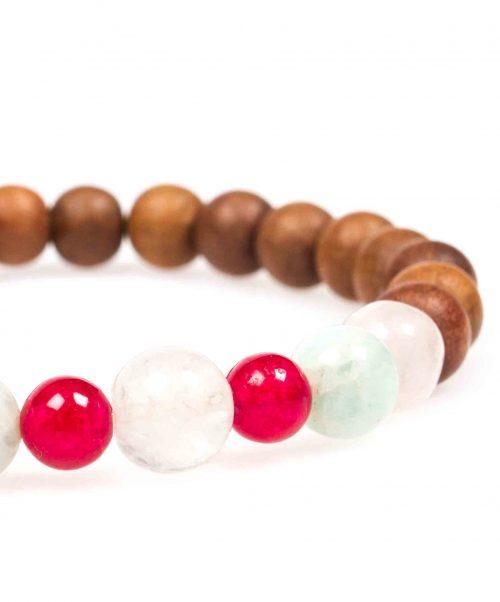 Stardust heart chakra red jade rose quartz amazonite sandalwood mala bracelet closeup