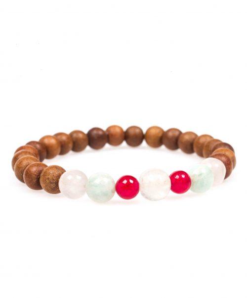 Stardust heart chakra red jade rose quartz amazonite sandalwood mala bracelet front