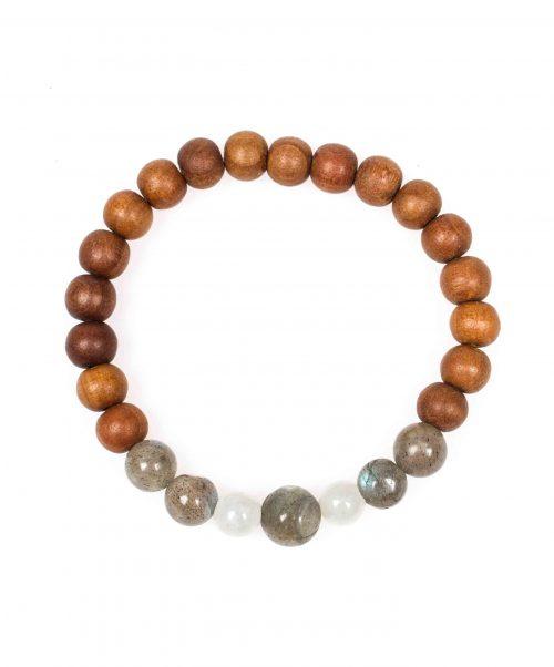 Stardust labradorite moonstone sandal wood grey mala bracelet above