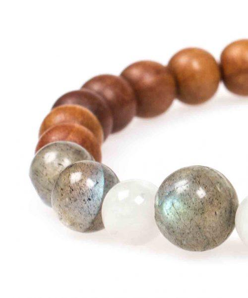 Stardust labradorite moonstone sandal wood grey mala bracelet closeup
