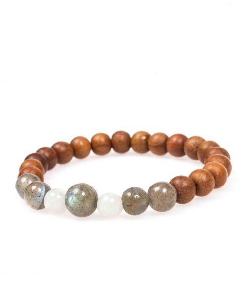 Stardust labradorite moonstone sandalwood grey mala bracelet front