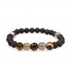 Stardust lava soul tigers eye labradorite lava silver black mala bracelet front