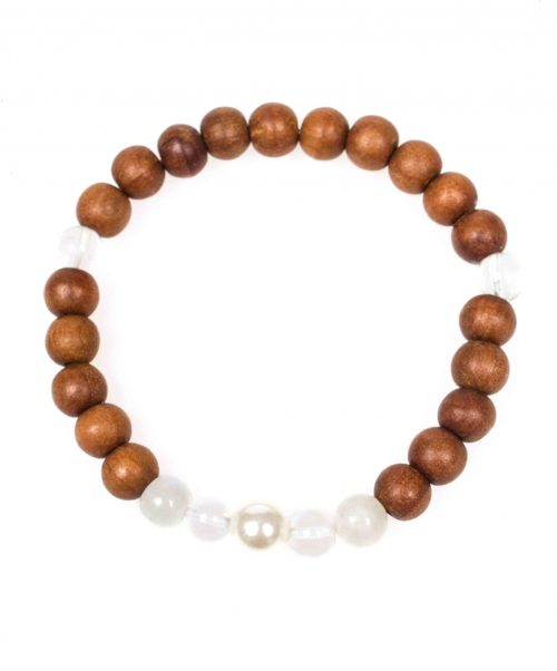 Stardust magical moonstone pearl himalayan crystal sandal wood white mala bracelet above