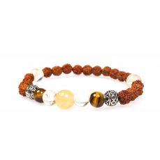 Stardust positivity tigers eye silver citrine yellow jade rudraksha mala bracelet front